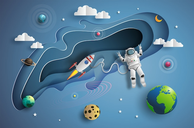 Papierkunstart des astronauten im weltraum auf mission. Premium Vektoren