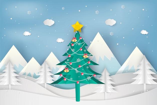 Papierkunstart des weihnachtsbaums im winter mit landschaftshintergrund Premium Vektoren