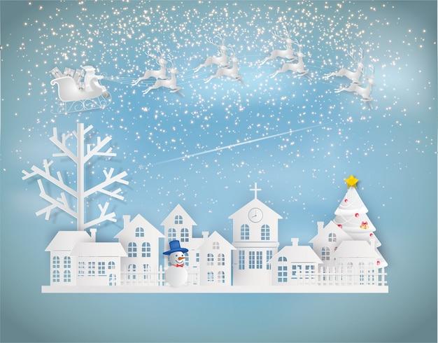 Papierkunstart von santa claus auf dem himmel, der zur stadt in der wintersession kommt. Premium Vektoren