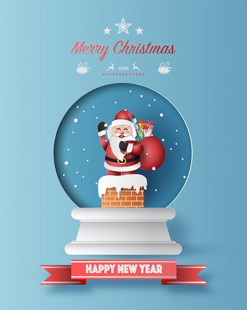 Papierkunstart von santa claus mit einer tasche voll von geschenken in der weihnachtskugelgrußkarte Premium Vektoren