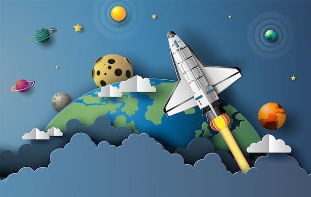 Papierkunststil des space shuttles, der im raum abhebt, start-up-konzept, flache illustration. Premium Vektoren