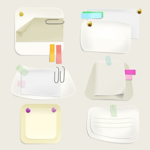 Papiermitteilung merkt illustration von memoaufklebern und -anzeigen mit klipps, stifte Kostenlosen Vektoren