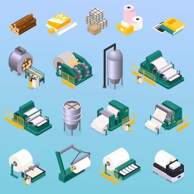 Papierproduktionsikonen, die mit holz- und drucksymbolen isometrisch isoliert eingestellt werden Kostenlosen Vektoren
