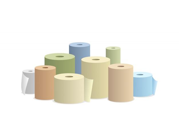 Papierrollen auf weißer hintergrundvektorillustration. Premium Vektoren