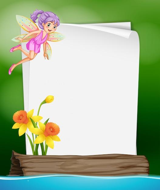 Papierschablone mit fee und blume Kostenlosen Vektoren