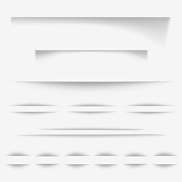 Papierschatten bewirken illustration oder realistische grenzen der weißen seite für website Kostenlosen Vektoren