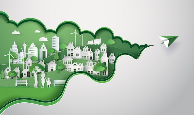 Papierschnitt der eco stadt Premium Vektoren