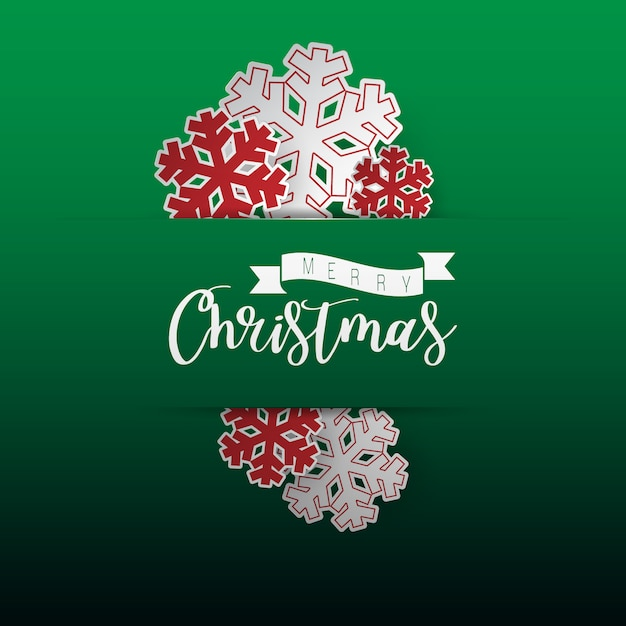 Papierschnitt der weihnachtsschneeflocke auf grünem hintergrund. Premium Vektoren