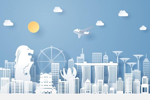 Papierschnitt des singapur-markstein-, reise- und tourismuskonzeptes, Premium Vektoren