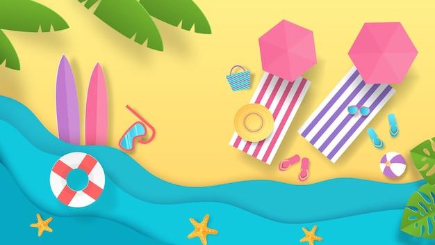 Papierschnitt-sommerstrandillustration Premium Vektoren