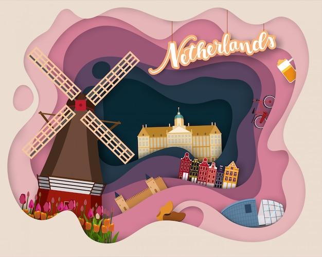 Papierschnittdesign der touristischen reise die niederlande Premium Vektoren