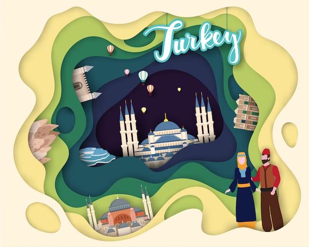 Papierschnittdesign von tourist travel Premium Vektoren