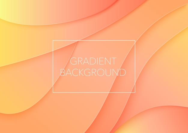 Papierschnittkunst abstrakte orange farbe gekrümmte wellen hintergrund Premium Vektoren