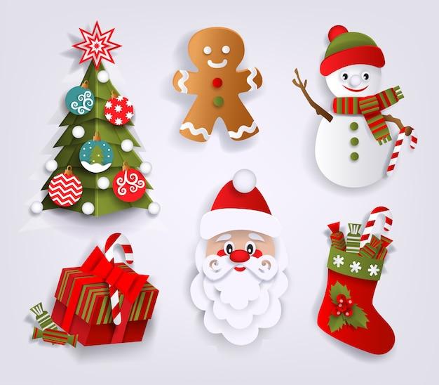 Papierschnittsatz weihnachtsdekorationselemente Premium Vektoren