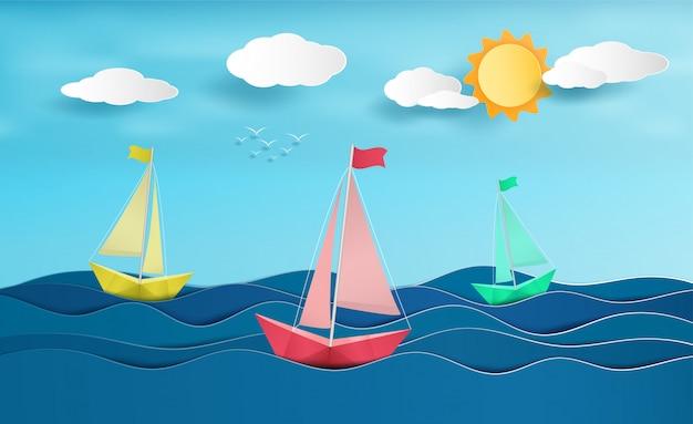 Papiersegelbootsegeln auf dem ozean. Premium Vektoren