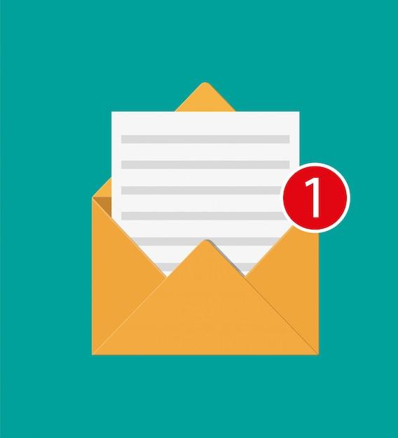 Papierumschlag brief mit gegenbenachrichtigung. Premium Vektoren