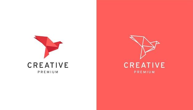 Papiervogel low poly logo design-vorlage Premium Vektoren