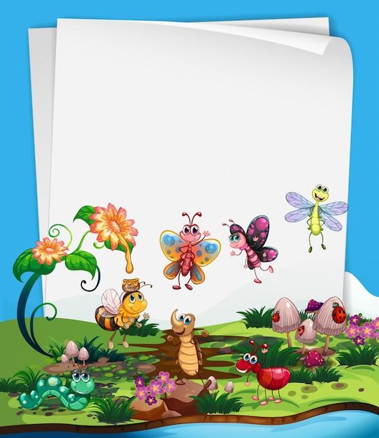 Papiervorlage mit insekten im garten Premium Vektoren