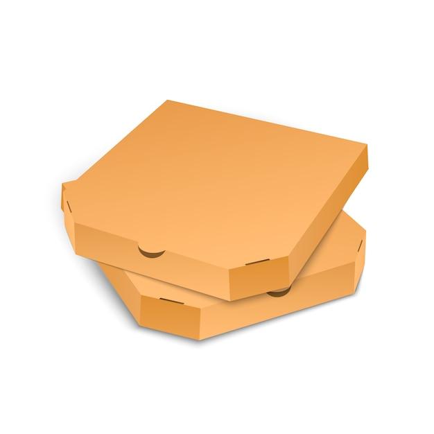 Papppizzakastenschablone lokalisiert auf weißem hintergrund. Premium Vektoren