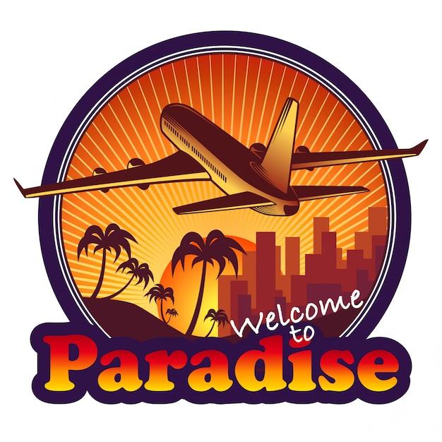 Paradies-reiselabel mit flugzeug auf sonnenunterganghintergrund Kostenlosen Vektoren