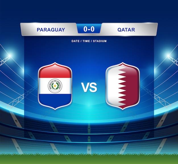 Paraguay gegen katar-anzeigetafel sendete fußball copa america Premium Vektoren