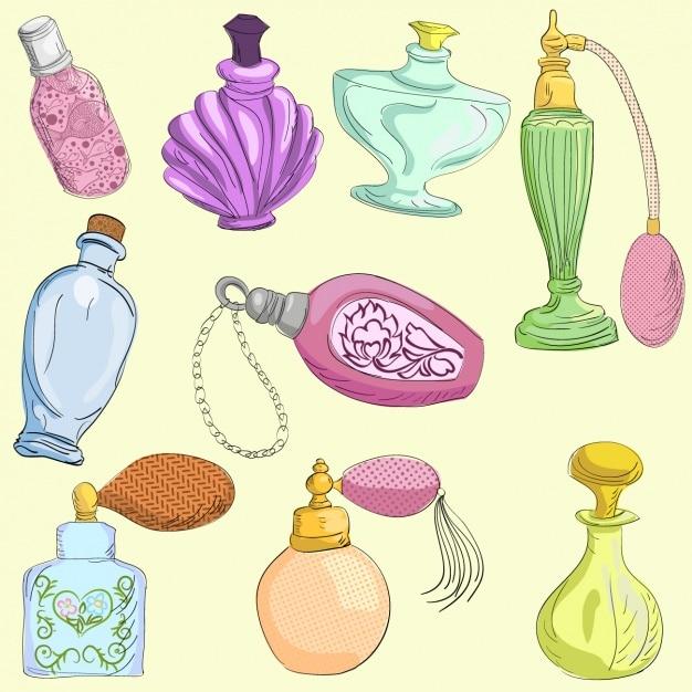 Parfüm-flaschen-kollektion Kostenlosen Vektoren