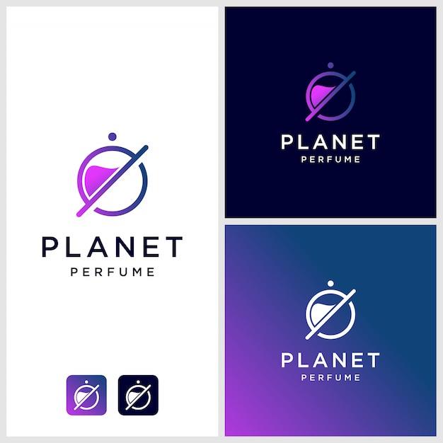Parfüm-logo-design mit planetenumriss, einzigartiges, modernes premium Premium Vektoren