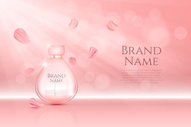 Parfümflasche kosmetische anzeige Kostenlosen Vektoren