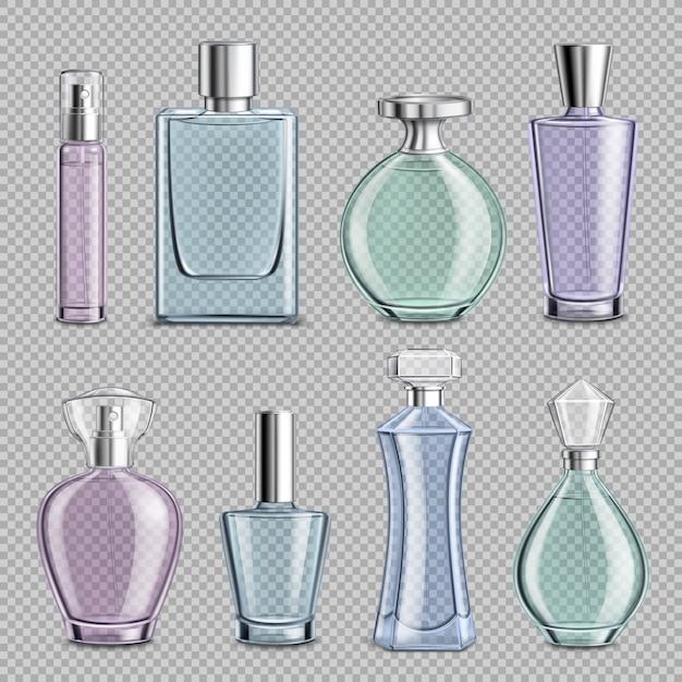 Parfümglasflaschen auf transparent gesetzt Kostenlosen Vektoren