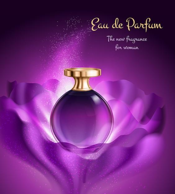 Parfümprodukt in glasflasche mit spender Kostenlosen Vektoren
