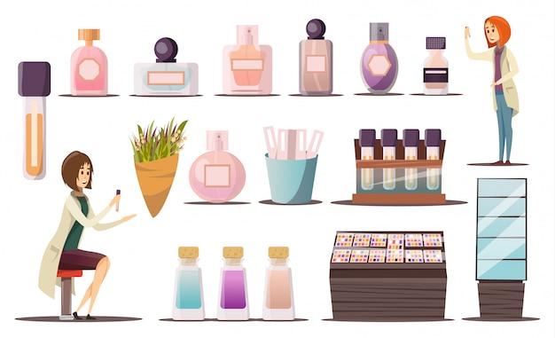 Parfümshopikone eingestellt mit kosmetischen eckschaufenstern und kosmetischen produkten Kostenlosen Vektoren