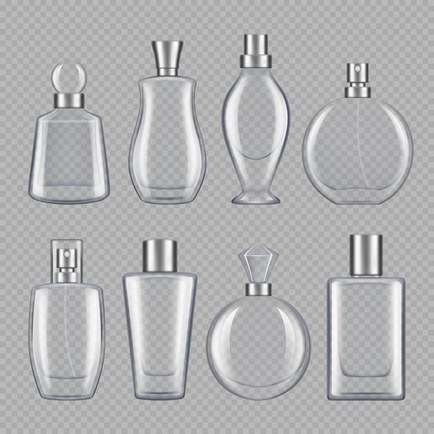 Parfums für männer und frauen. verschiedene flaschen parfüm Premium Vektoren