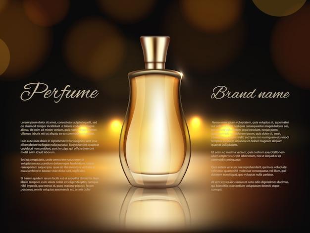 Parfums werben. realistische illustrationen von parfümflaschen Premium Vektoren