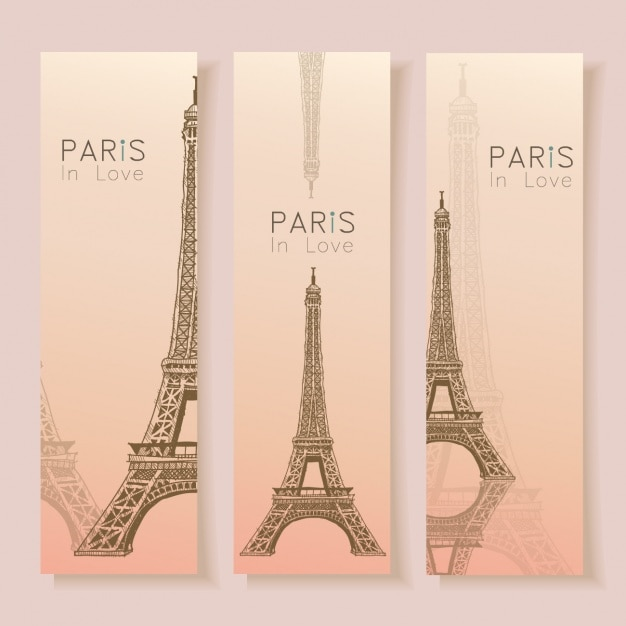 Paris banner-sammlung Kostenlosen Vektoren