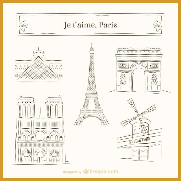 Paris skizzen Kostenlosen Vektoren