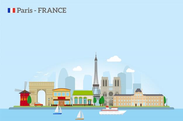 Paris-skyline im flachen stil Premium Vektoren