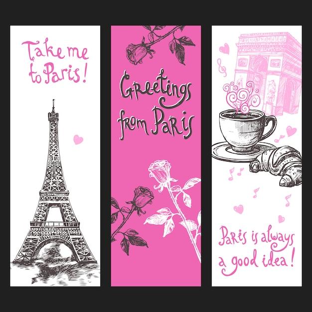 Paris vertikale banner-set Kostenlosen Vektoren