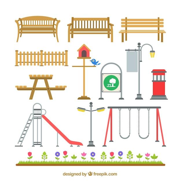 Park elemente Kostenlosen Vektoren