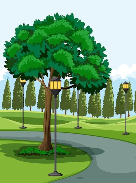 Park im freien dargestellte szene Kostenlosen Vektoren