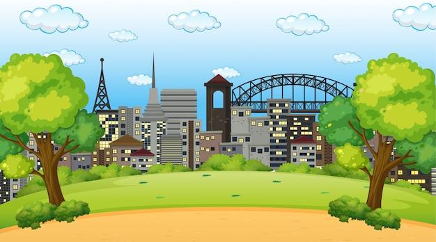 Park in der stadtszene oder im hintergrund Kostenlosen Vektoren