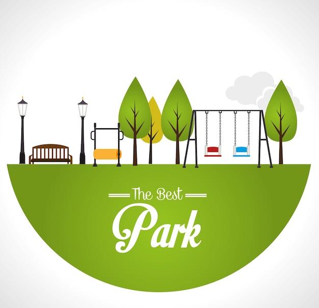 Parkdesign über weißer hintergrundvektorillustration Premium Vektoren