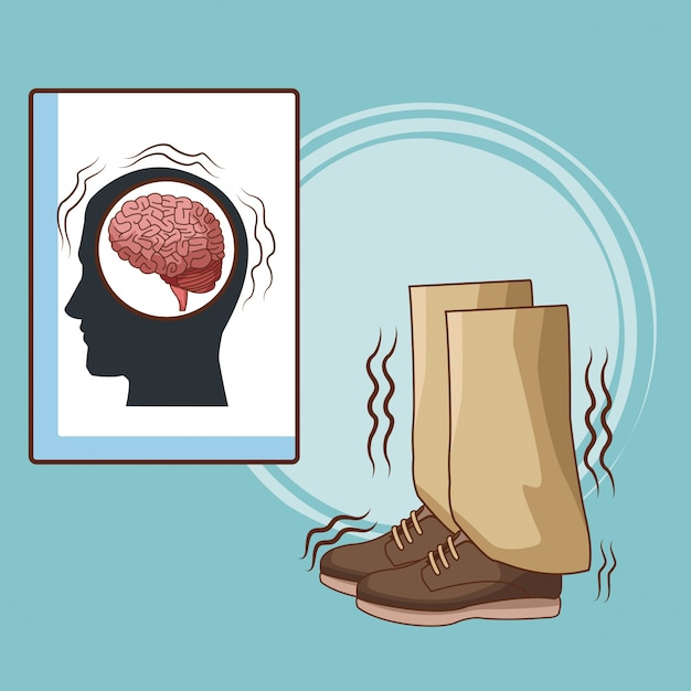 Parkinsons krankheitskarikatur Premium Vektoren