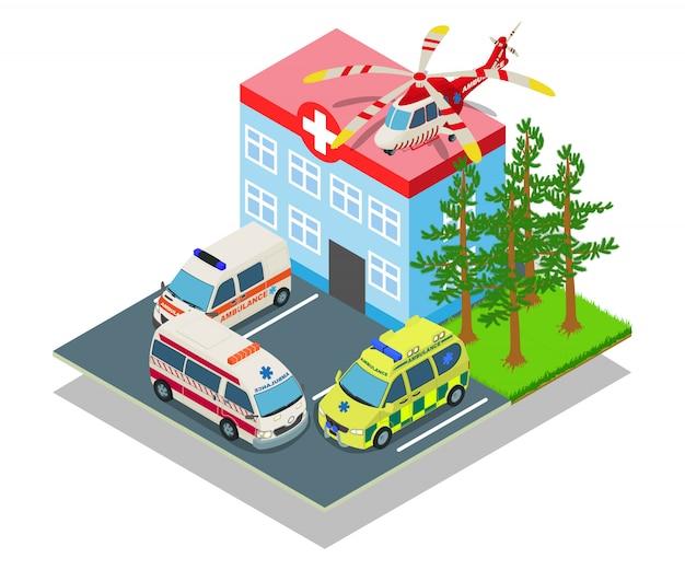 Parkkrankenhaus-konzeptfahne, isometrische art Premium Vektoren