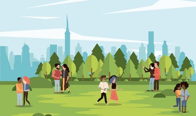 Parklandschaft mit paaren Premium Vektoren