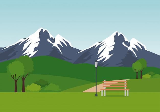Parklandschaftsszene Kostenlosen Vektoren