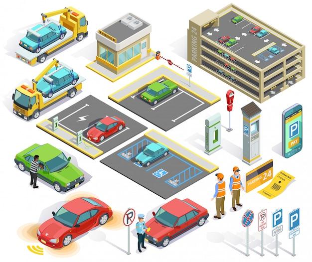 Parkplatz isometrische elemente gesetzt Kostenlosen Vektoren