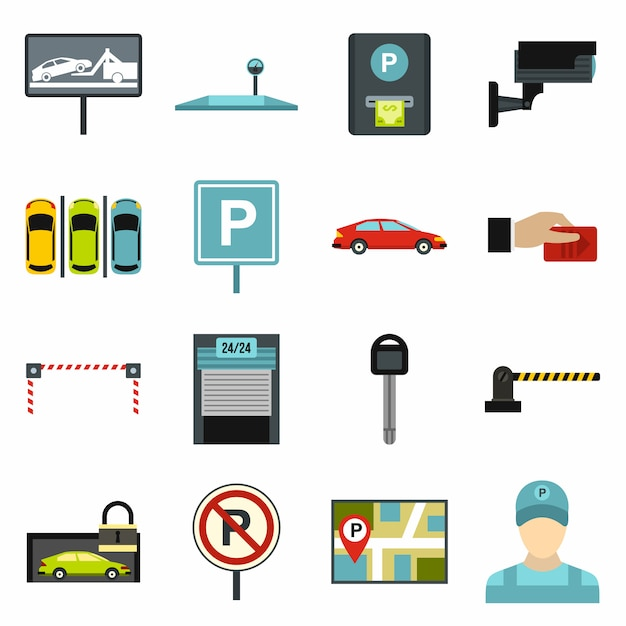 Parkplatz symbole festgelegt Premium Vektoren