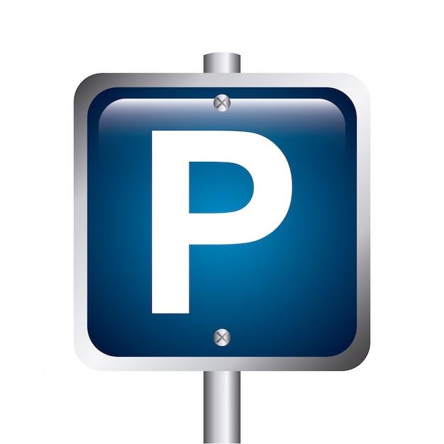 Parksignal über weißer hintergrundvektorillustration Premium Vektoren