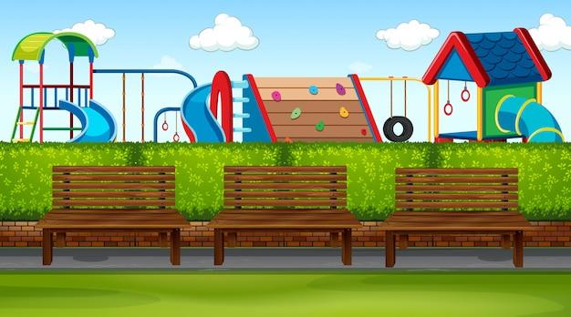 Parkszene mit spielplatz Kostenlosen Vektoren