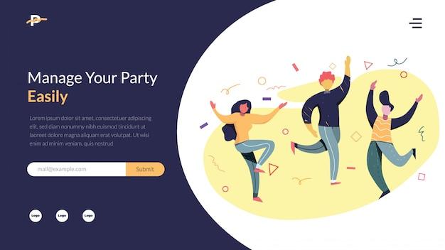 Partei-organisator-vektorabbildung Premium Vektoren